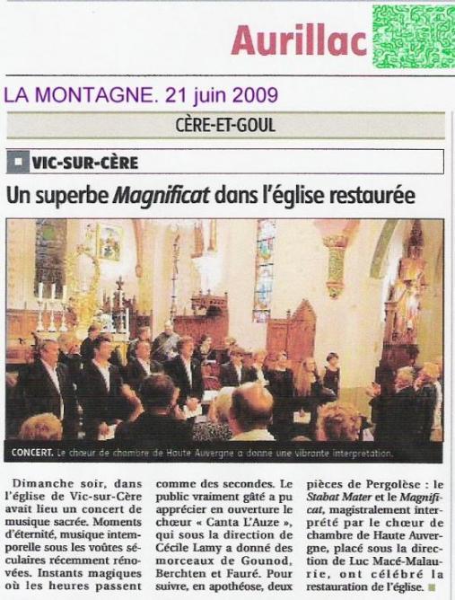 Pergolesi. Magnificat, Stabat Mater. Juin 2009