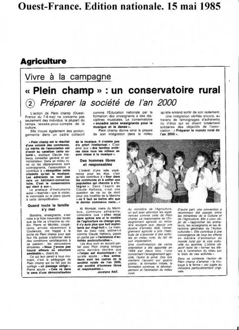 Ouest France Ed. Nat. 2 15 mai 1985